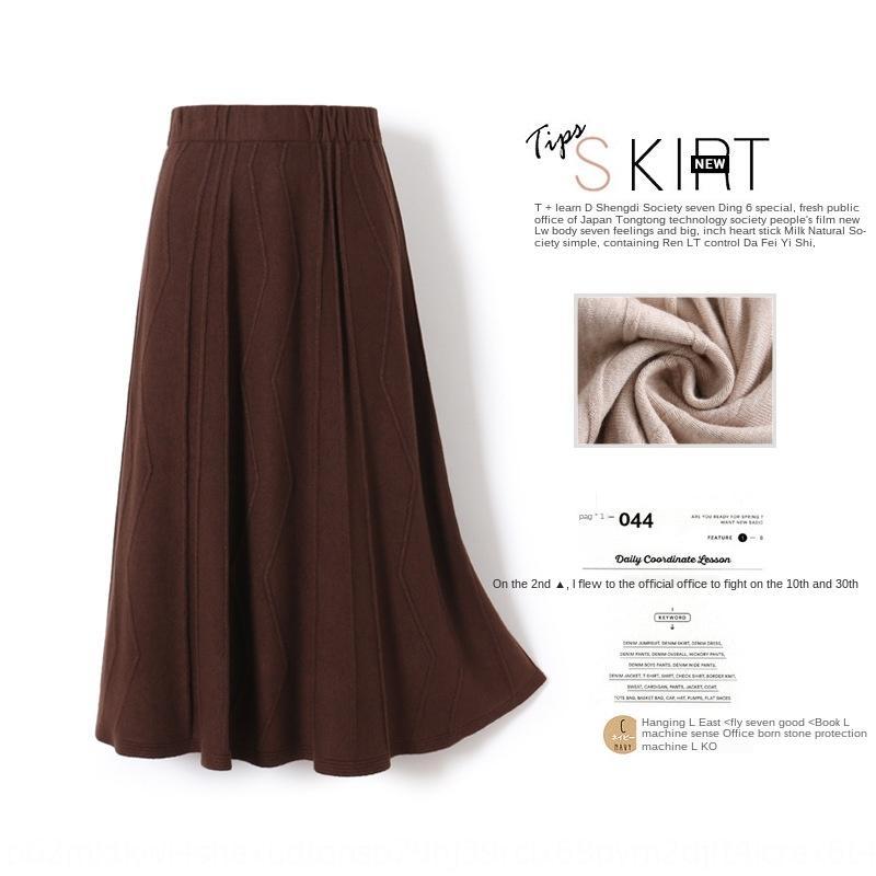 ZkATt Sonbahar ve hat moda Q1938 A- çizgi elbise 2019 yeni A- uzun kış zayıflama uzun etek kadın etek örme dokulu