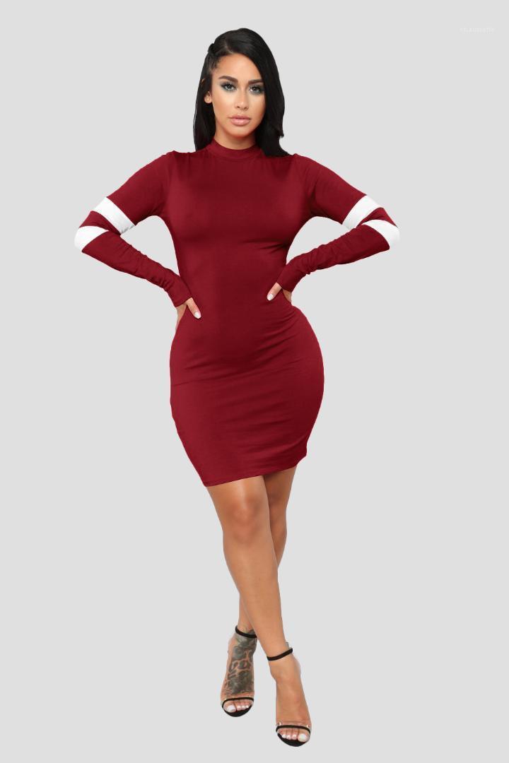 Vestidos de manga larga de cuello redondo Mujer ropa de moda de estilo atractivo de la ropa ocasional otoño ajustado de las mujeres sólidos de moda Colo