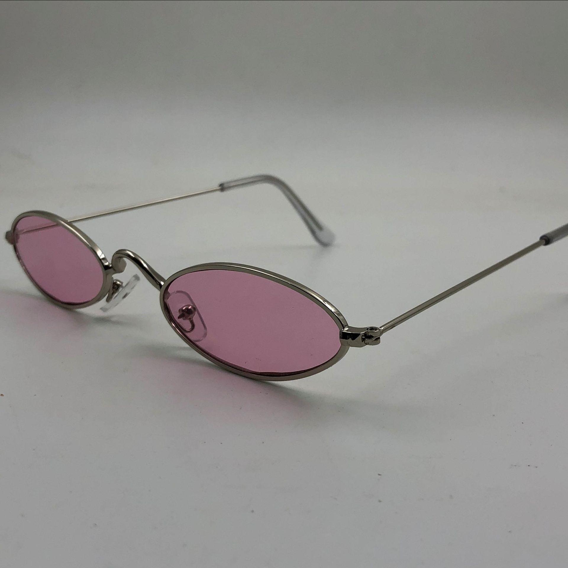New pequena estrutura de metal óculos de sol pequenos copos oval sol oceano óculos personalizados