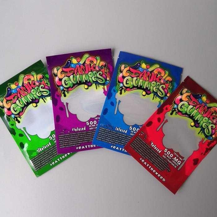 500mg Dank Mylar Maylar Einzelhandel Taschen Gummies Tabak Verpackung Beutel New Dry Süßigkeit Gummy Zipper CE2007 fNeQU