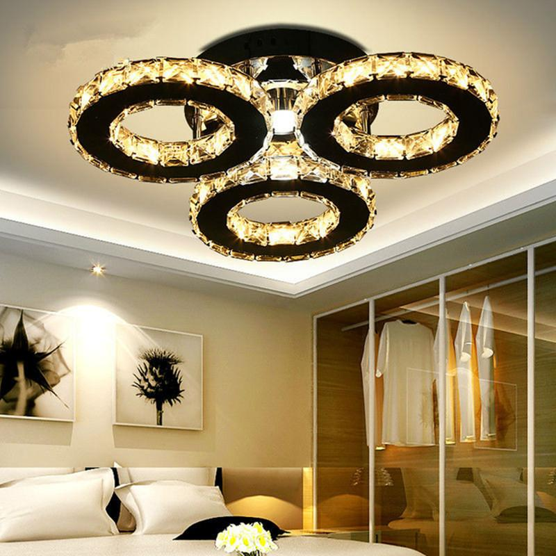 Modern Led Chandelier 3/5 Rings Crystal Ceiling Chandeliers Light Fixture for Bedroom Living Room Kitchen Lustres Home Deco Luminaria