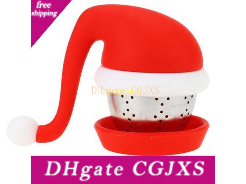 Бесплатная доставка Креативный дизайн Санта Hat ситечки для чая стали Болл Food Grade Silicone пакетиков Фильтры рождественские подарки