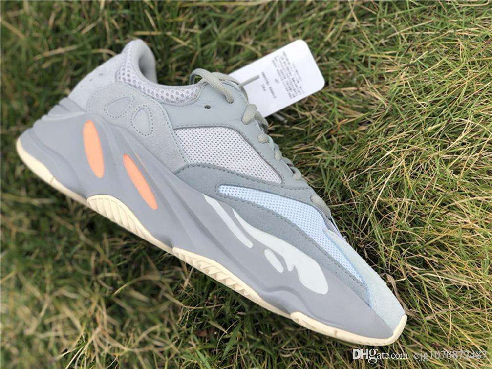 2019 Yüksek Otantik 700 Atalet Kanye West Koşu Ayakkabı Mavi Gri Erkekler Kadınlar Doğa Sporları Sneakers APE779001 ile Kutusu ile Kutusu ABD 5-12