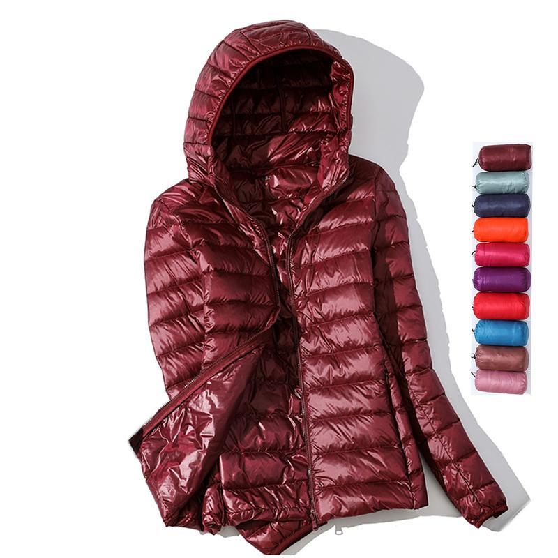 Ultra Light пуховик 2020 Новый PARKAS базовый зимние куртки Женщины Женщины бархат с капюшоном пальто осень пуховик женщин Outwear T200820