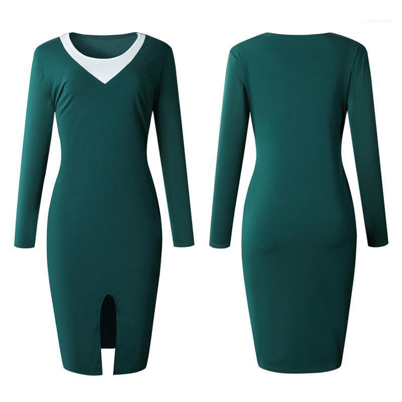 Damen OL Kleid Herbst Frauen Panelled Enges Kleid der Frauen mit Rundhalsausschnitt Kleider mit Split Sexy