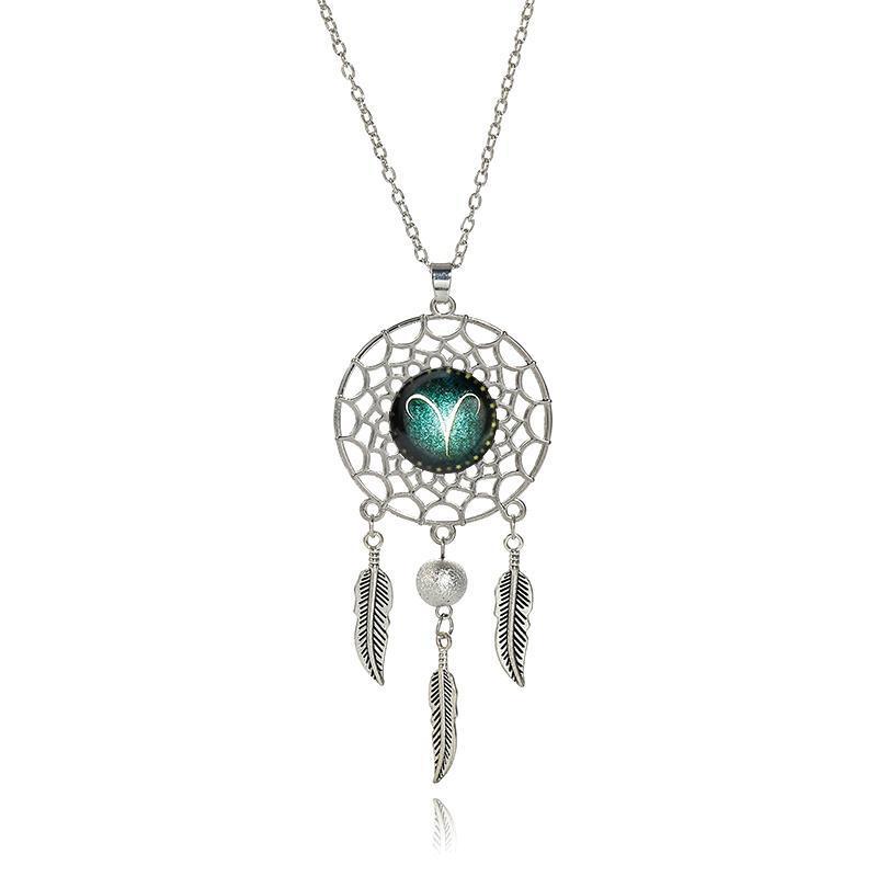Moda Bohemian Dreamcatcher nappa collana di monili del pendente delle donne dell'annata della collana di fascino della piuma del cavo 12 costellazioni lega d'argento