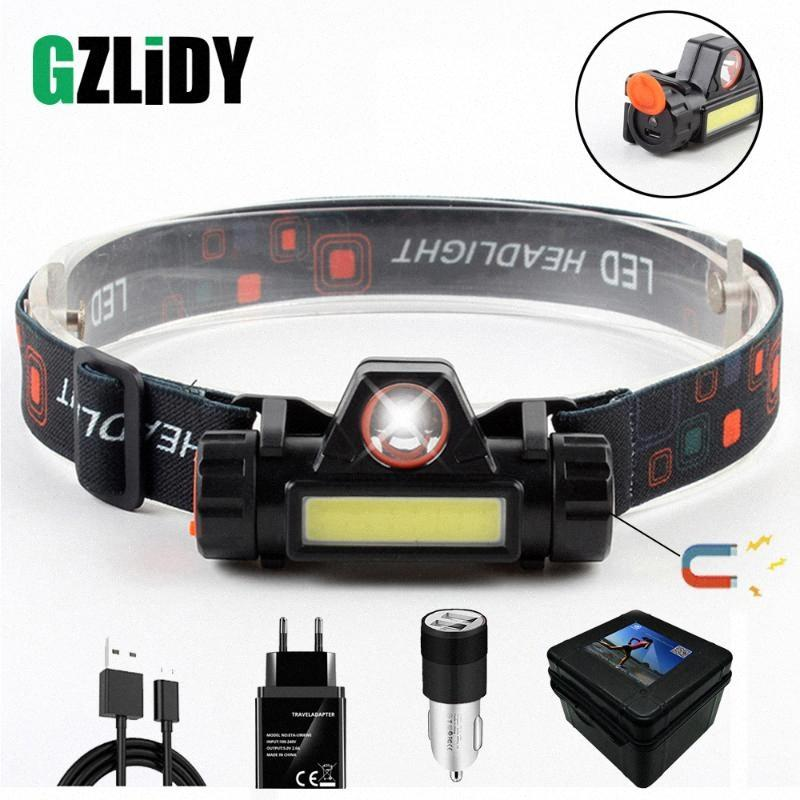Waterproof LED Headlamp COB Work Light 2 Light Mode With Magnet Headlight Built In 18650 Battery Suit For Fishing, Camping, Etc. Petze NgeH#