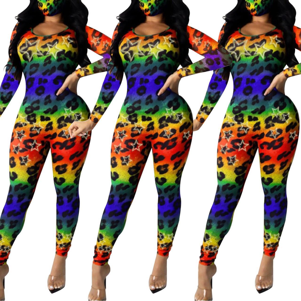 Bunte Frauen Leopard-Overall-Star Long Sleeve Slim Fit Rundhalsausschnitt Strampler Famale Designerkleidung