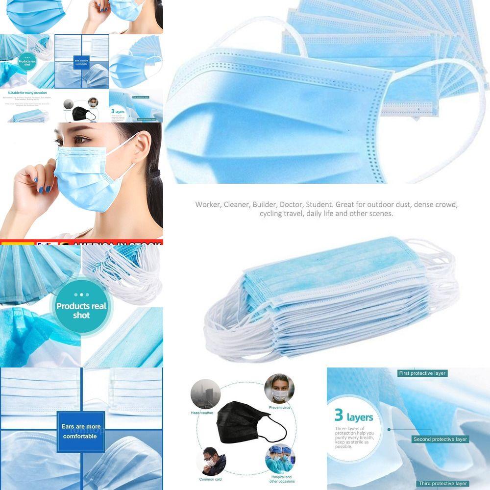 Одноразовые маски Рот 3 слоя Прочный Нетканые ткани Anti-пыли Анти загрязнения Earloops Маски 100шт 50шт / коробка L0XMZ SZ4Y9 LU