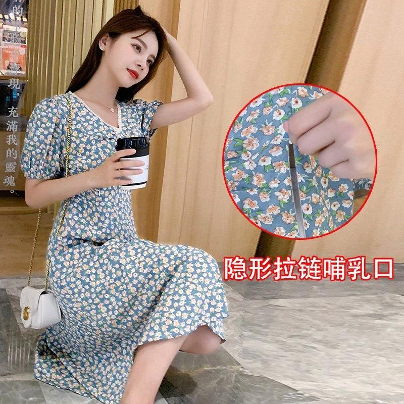 # 5396 été coréenne mode d'allaitement Robe longue imprimé floral élégant vêtements mince pour les femmes enceintes Grossesse Porter qagT #