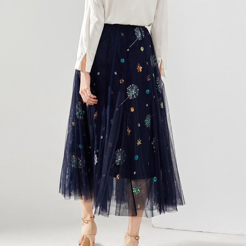 WWAp3 Shenzhen Nanyou 2020 robe printemps et d'été nouvelle jupe de gaze élastique femmes occasionnels minceur taille haute Shenzhen Nanyou robe des femmes