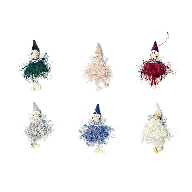 6Pcs Carino Angel Doll Decorazione natalizia Pendente albero di Natale appeso ornamento decorazione per la casa natale Navidad