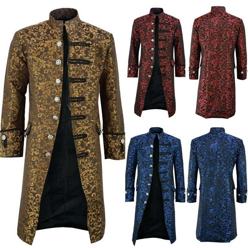 5XL Steampunk Trench Coat Men Casual Ethnic Printing Fashion Long Jacket Men Windbreaker Streetwear Vintage Oversize Joker New
