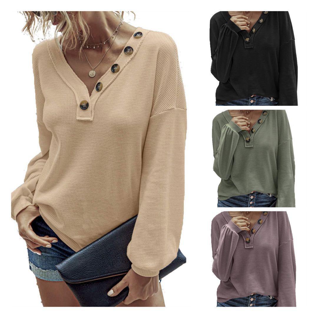 8 컬러 S-XXL 여성의 긴 소매 버튼 블라우스 느슨한 캐주얼 T 셔츠 여성 점퍼 톱 새로운 62265141925931
