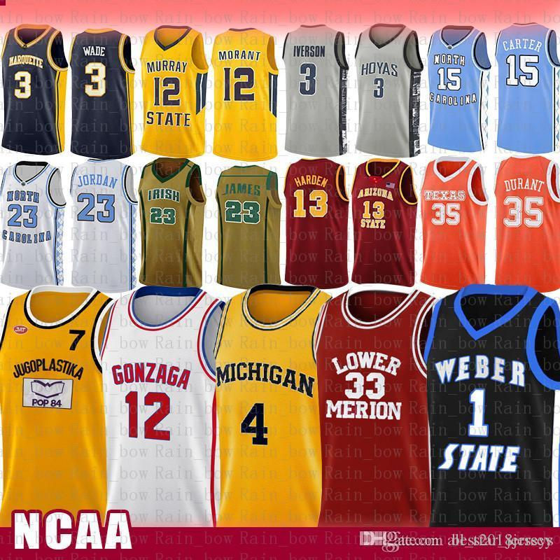 Pop Toni 7 Moive Kukoc NCAA Gonzaga Bulldogs lycée John Stockton 12 Basketball Jersey Wolverines du Michigan Chris Webber 4 Université