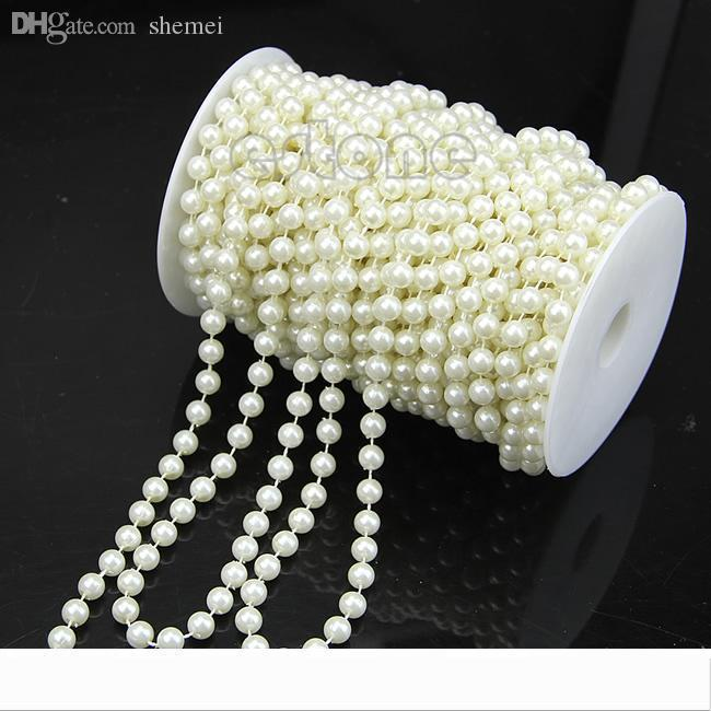 Designer Wholesale-L1098MM Faux Pearl Plastic Strand Beads on a String Craft Roll