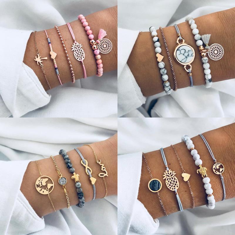 5pcs/set Silver Bracelet Female Cute Simple Map Pineapple Heart Tassel Braid Bracelet Jewelry Set Hypoallergenic Gift Free Shipping