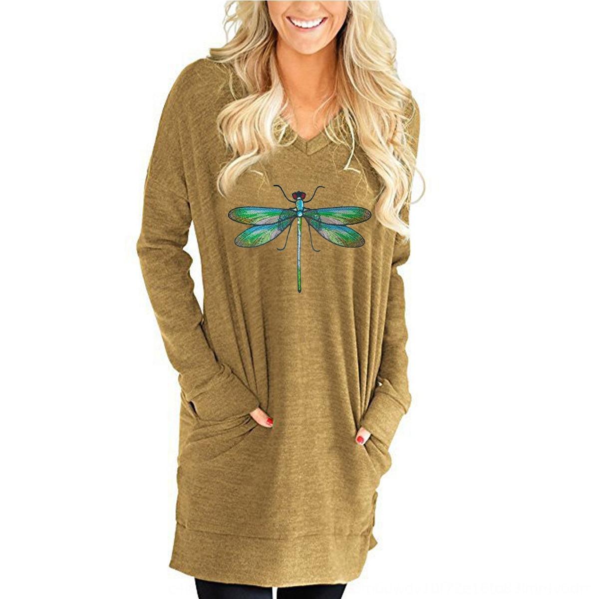 q8AXu Новый свободный длинный рукав V-образным вырезом карман раскол одежды женщин Новый свободный длинный рукав V-образным вырезом карман футболка футболка раскол женская одежда