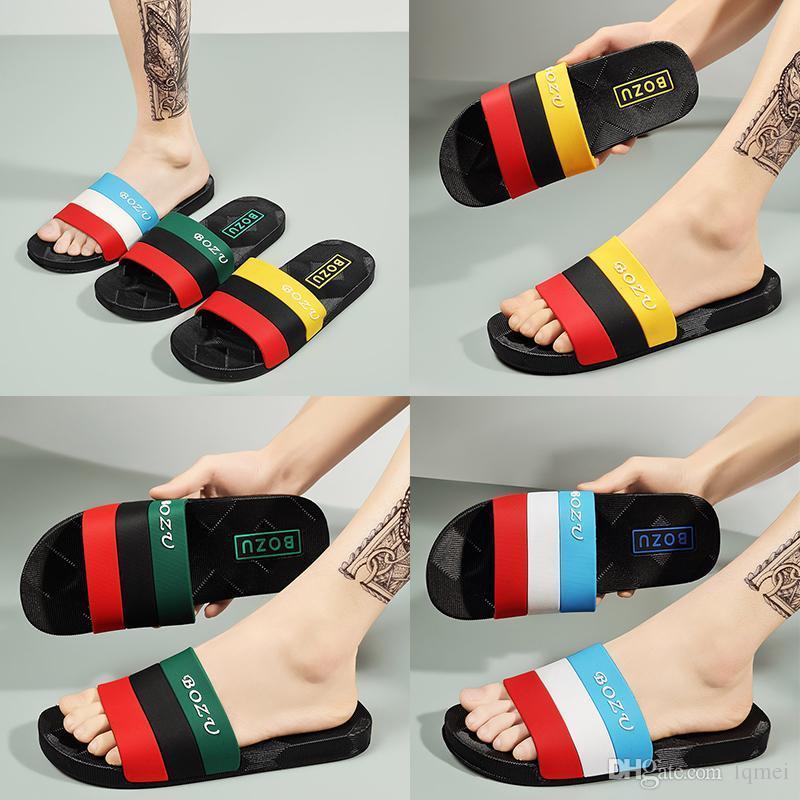 Luxury Man Slippers Flat Slides Sandals Flip Flop Summer Shoes Fashion Slip Slippers Designer Beach shos Bedroom shoes large size 40-51