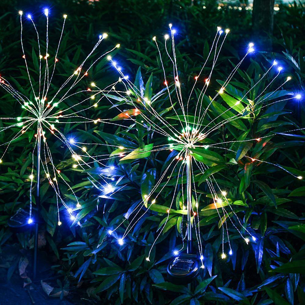 أضواء الألعاب النارية أضواء LED 90/120/150 سلسلة مصباح للماء حديقة في الهواء الطلق الإضاءة الحديقة مصابيح زينة عيد الميلاد الشمسية