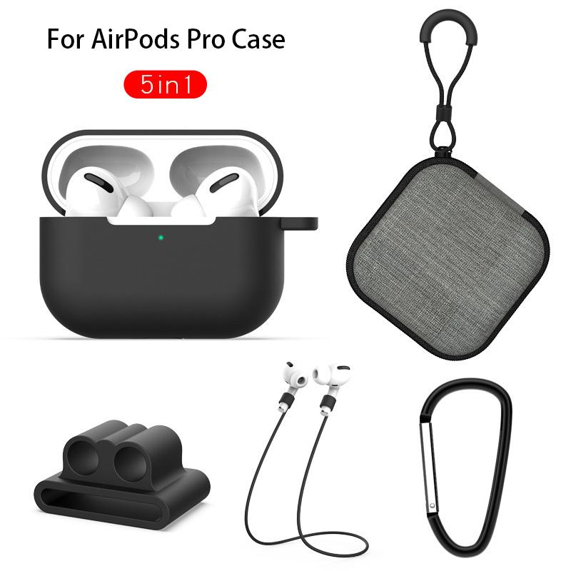 5 in 1 Silicone Case Cover For Apple for Airpods Pro Lanyard Earphone Protective Non-slip Soft Bag For AirPod 3 Storage Accessories