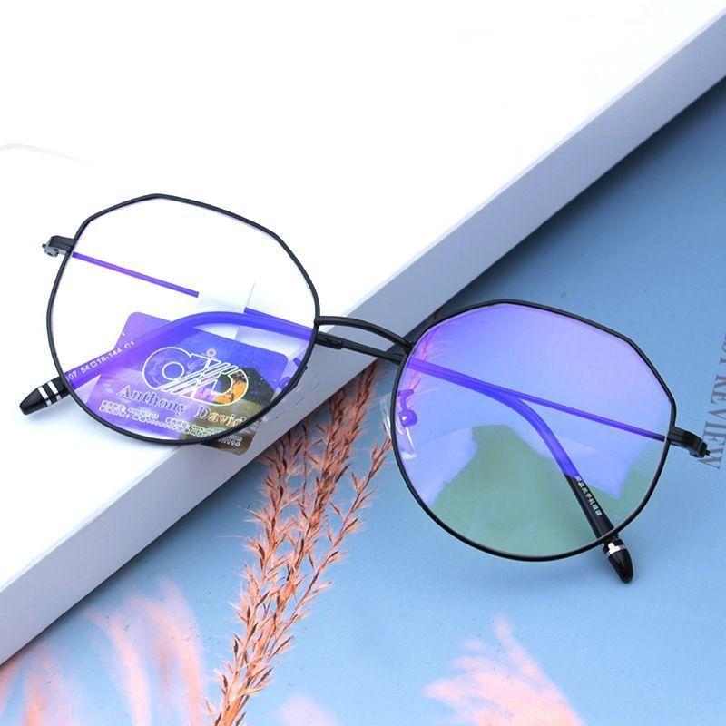 2020 анти-синий очки мужские и женские металлические рамки анти-излучения равнины очки многоугольник очки кадр прилив