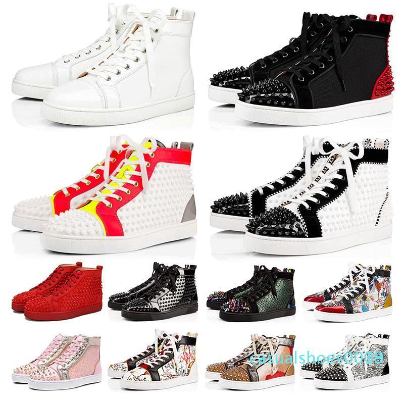 con la scatola di 2020 scarpe nuove parti inferiori rosse per delle donne degli uomini della piattaforma della pelle scamosciata progettista picco rosso fondo lusso moda casual sneakers1 c18