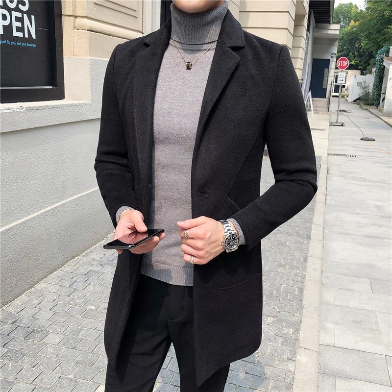 BN0Lc Mantel neue Graben gut aussehend schlank mittellange Windjacke aus Wolle 2020 Mantel der Männer Männern Jugend Mode
