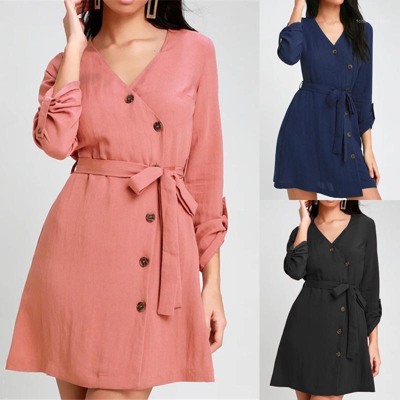 V Neck Solide Couleur simple boutonnage robe à manches longues Famale Casual Vêtements taille haute dentelle habiller les femmes
