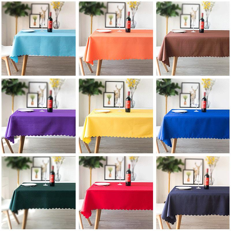 YRYIE Free Shipping Solid Color White 100% Polyester Tablecloth Dinner Room Cloth Rectangle Plain Red Table Cover Y200421
