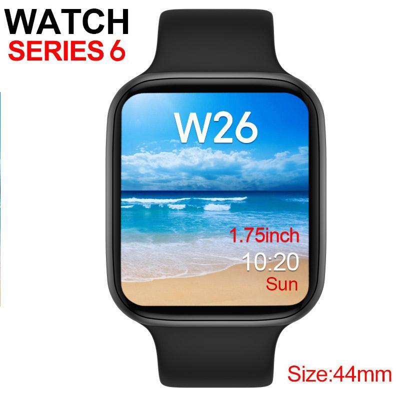 W26 Smart Watch Series 6 1to1 44mm 1.75inch Bluetooth Llamada ECG Monitoreo de presión arterial Deporte Pulsera Pulsera SmartWatch para iOS Android
