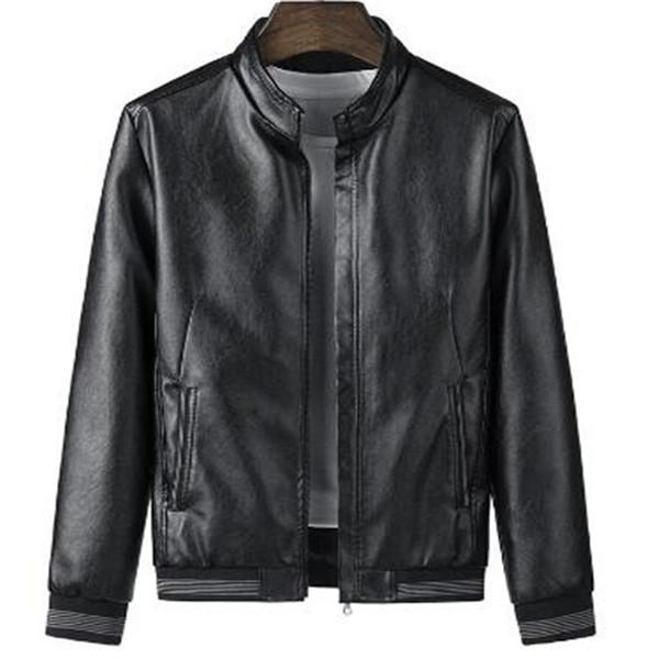 Primavera Outono Moda Casual Homens costura gola solta Leather Jacket Brasão Zipper Longo-Sleeved Tops Outwear Casacos