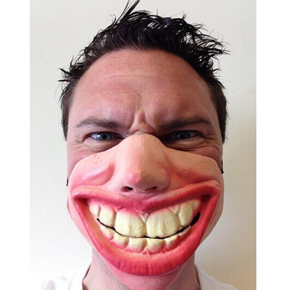 New Big Teeth Latex Clown Mask For Men Movie Fancy Dress Masquerade Party Horror Creepy Elastic Band Half Face Masks Funny Costume Halloween