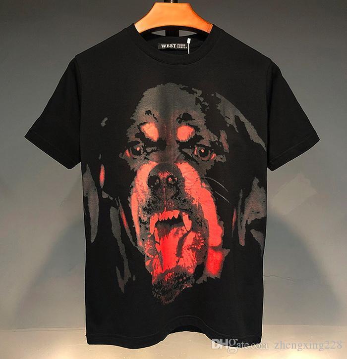2020 Été Hommes Femmes de haute qualité Coton T-shirt classique de conception rouge Tête de chien Imprimé en vrac court T-shirt manches étudiants talonnage T-shirt