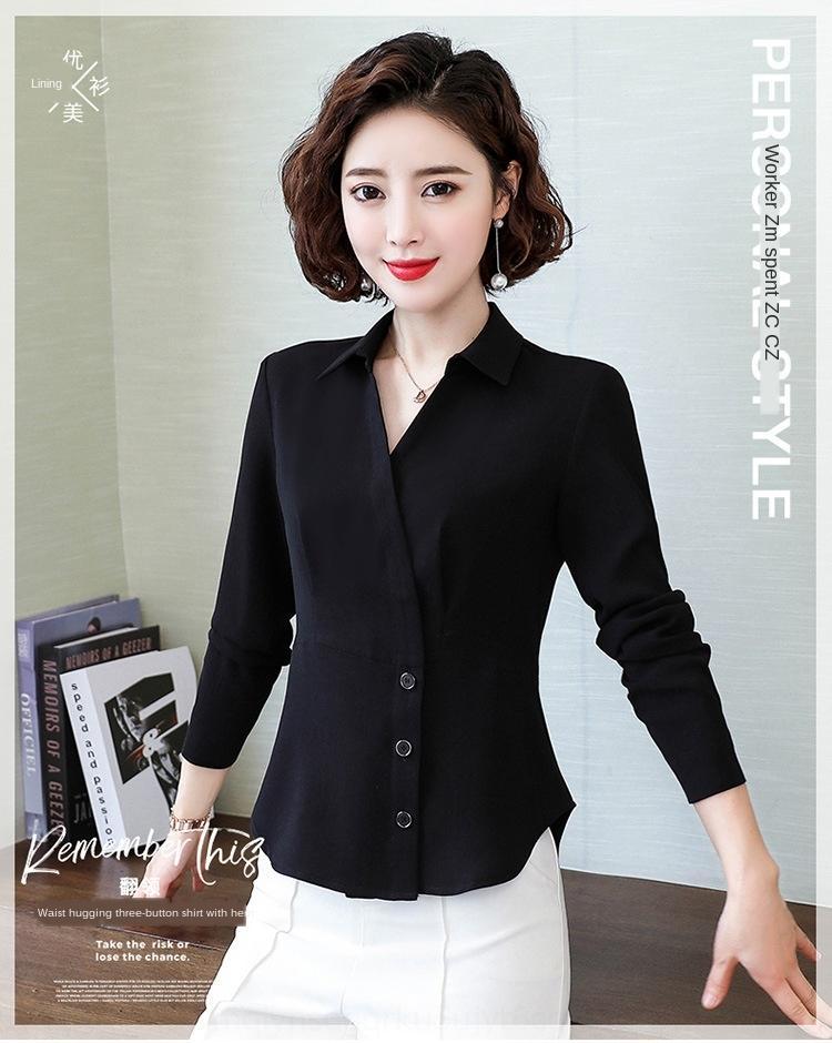 XU60E A6r95 Turong long-sleeved Women's Spring sense Autumn temperament design and V-neck shirt shirt waist chiffon bat sleeve slimming