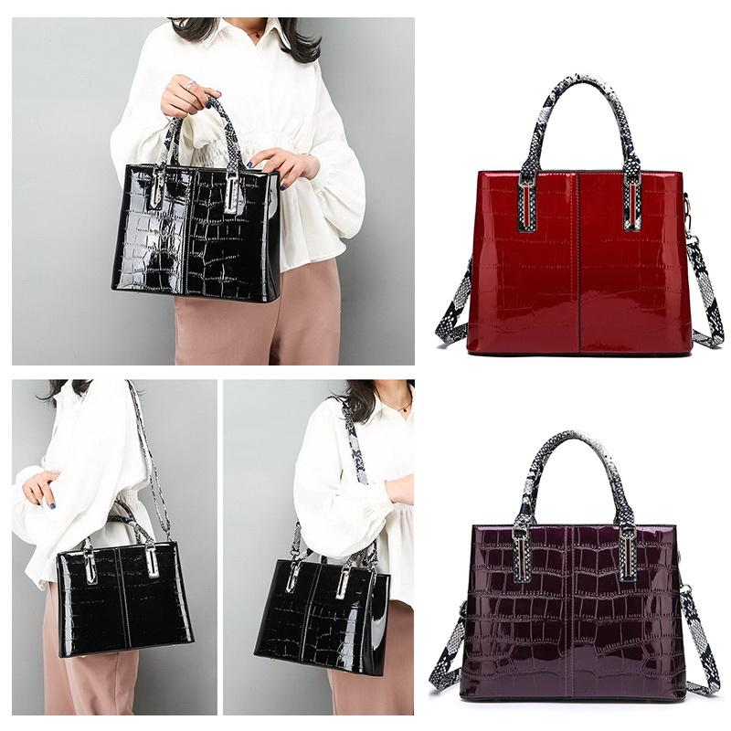 FUNMARDI Luxury Handbag Women Bags Crocodile PU Leather Designer Female Shoulder Crossbody Bag Snake Top-Handle Bags WLHB2152