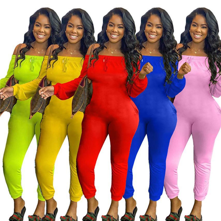 Automne Femmes d'été justaucorps Éteint Combinaisons d'épaule de-2XL Skinny Slim barboteuses sexy à manches longues Pantalons Piece DHL Livraison rapide 3672