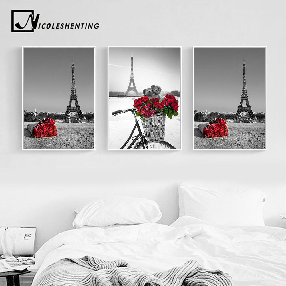 Paris Eiffelturm Rote Rosen-Blumen-Landschaft Poster und Drucke Wall Art Leinwand-Malerei Schwarz Weiß Bild Moderne Wohnkultur