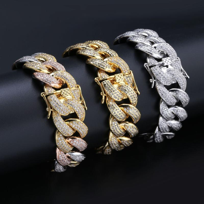 Hot Sale HipHop Gold White gold And Multicolored Micro Paved Cubic Zircon 18mm Iced Out Cuban Link Chain bracelet for Men JUNLU