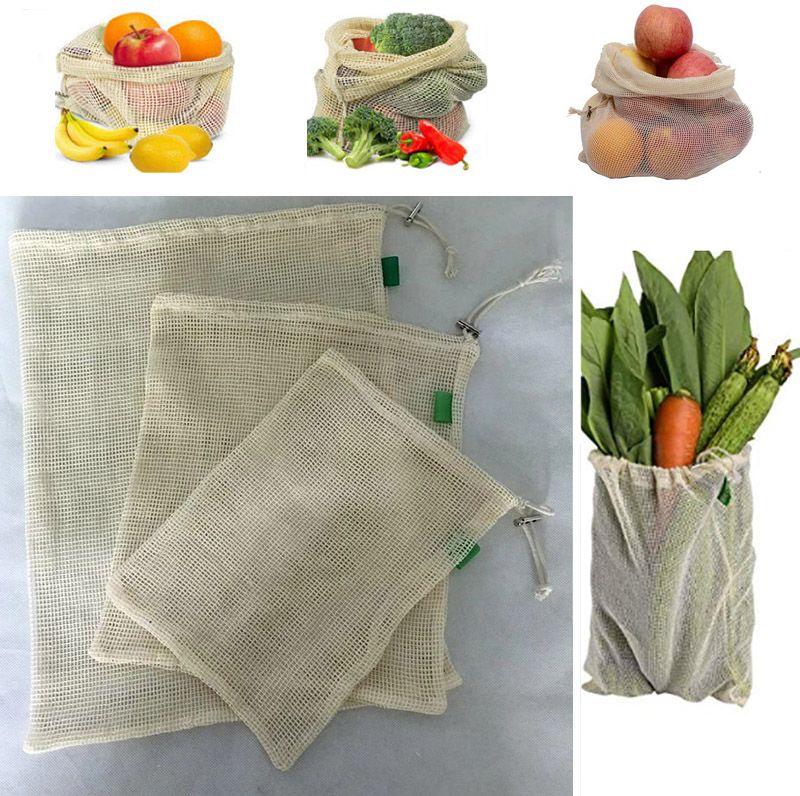 3pcs / Set reutilizável de algodão de malha das compras na mercearia produzir sacos de legumes frutas frescas bolsas de mão Totes Bolsa de armazenamento cordão Bag DHL WX9-1173