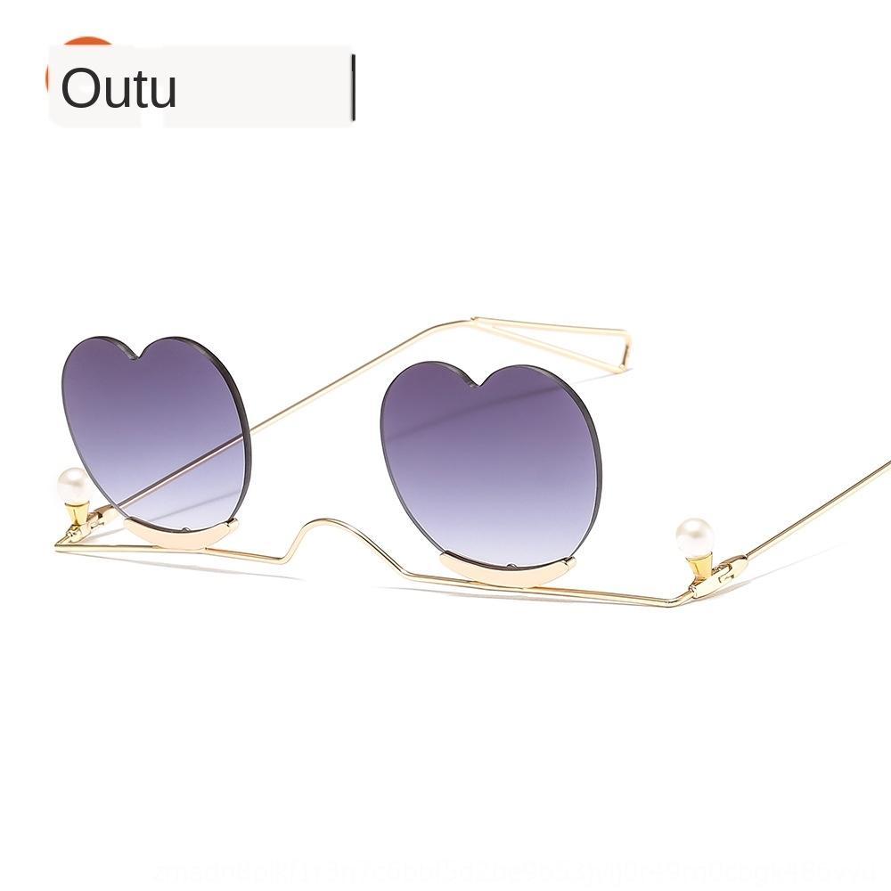Neue kleine Perle Sonne Sonnenbrille Rahmen Liebe Metall-Brille 7705 Perle dekorative personalisierte Ins Sonnenbrille edkZr