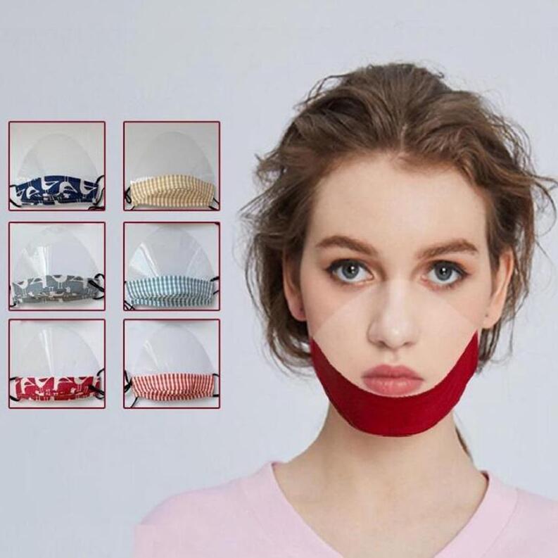 Deaf Mute Máscara Facial Designer Transparente Mulheres Homens respirador anti-nevoeiro respirável lavável Máscaras Moda Dustproof cobrir a boca GWC1159