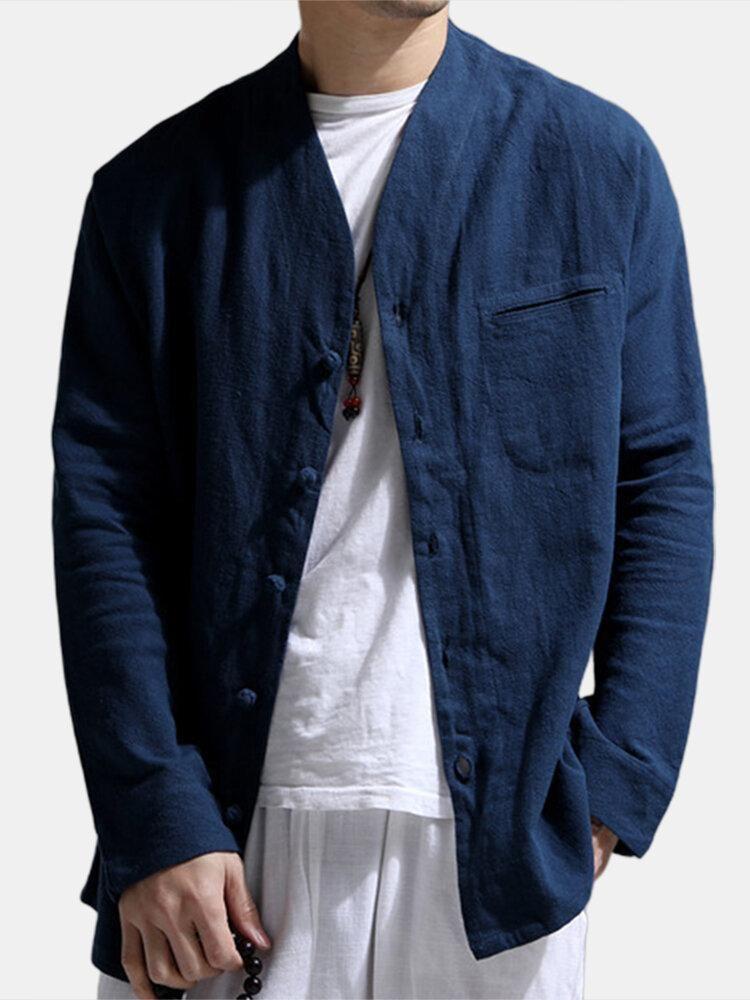Повседневная мужская одежда Мода Дизайнерская Красивый рубашки Сплошной цвет мандарин воротник рубашки с длинным рукавом Льняное лето