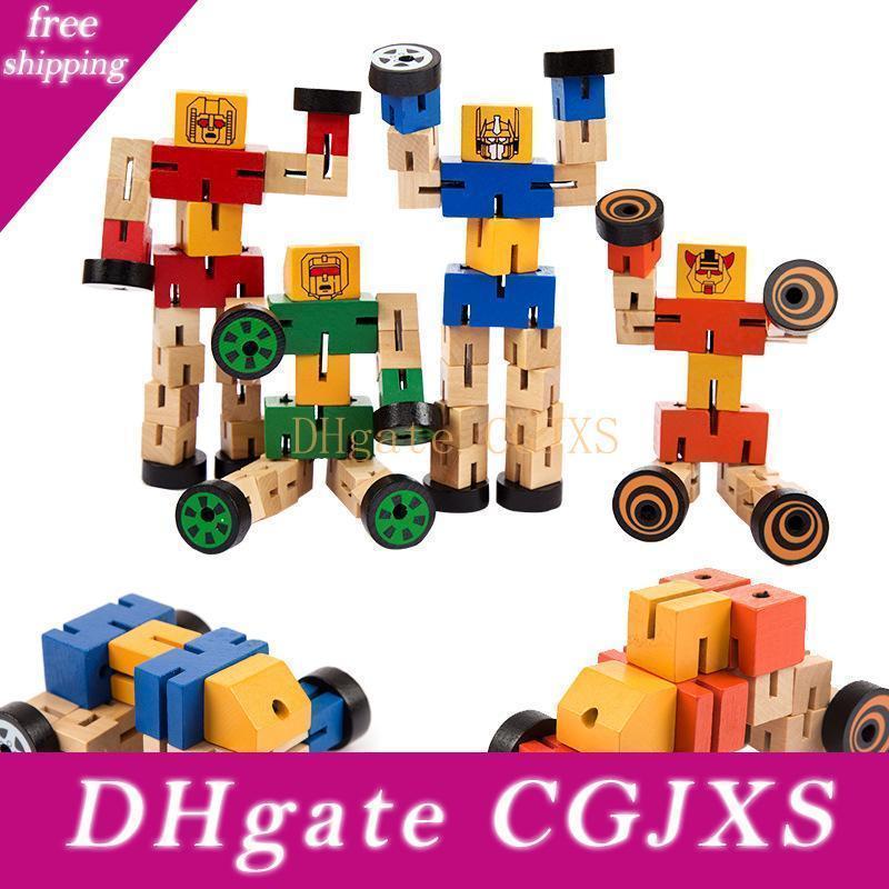 لعبة الذكاء خشبية تشوه روبوت سيارات مان متعددة نمذجة Souptoys زراعة الأطفال المعرفي التنموي هدية لعب الاطفال