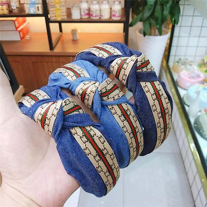 Denim impressão das Headbands leves Mulheres sujeira resistente Presentes Cabelo Hoop respirável nightclub partido jóias cabelo Hipster frete grátis