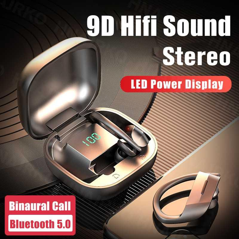 Mikrofon Kulaklık İçin Telefon ile kablosuz Bluetooth V5.0 Kulak Kanca Spor su geçirmez kulaklık LED Güç Ekran TWS Kulaklıklar