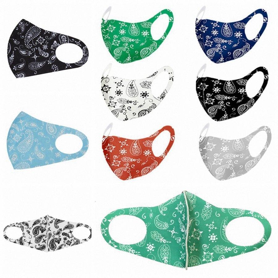 Moda Paisley 3d maschera riutilizzabile lavabile mascherina mascherine PM2.5 Viso Shield Traspirante ghiaccio in seta stampata progettista del partito del fronte RRA3395 14P1 #
