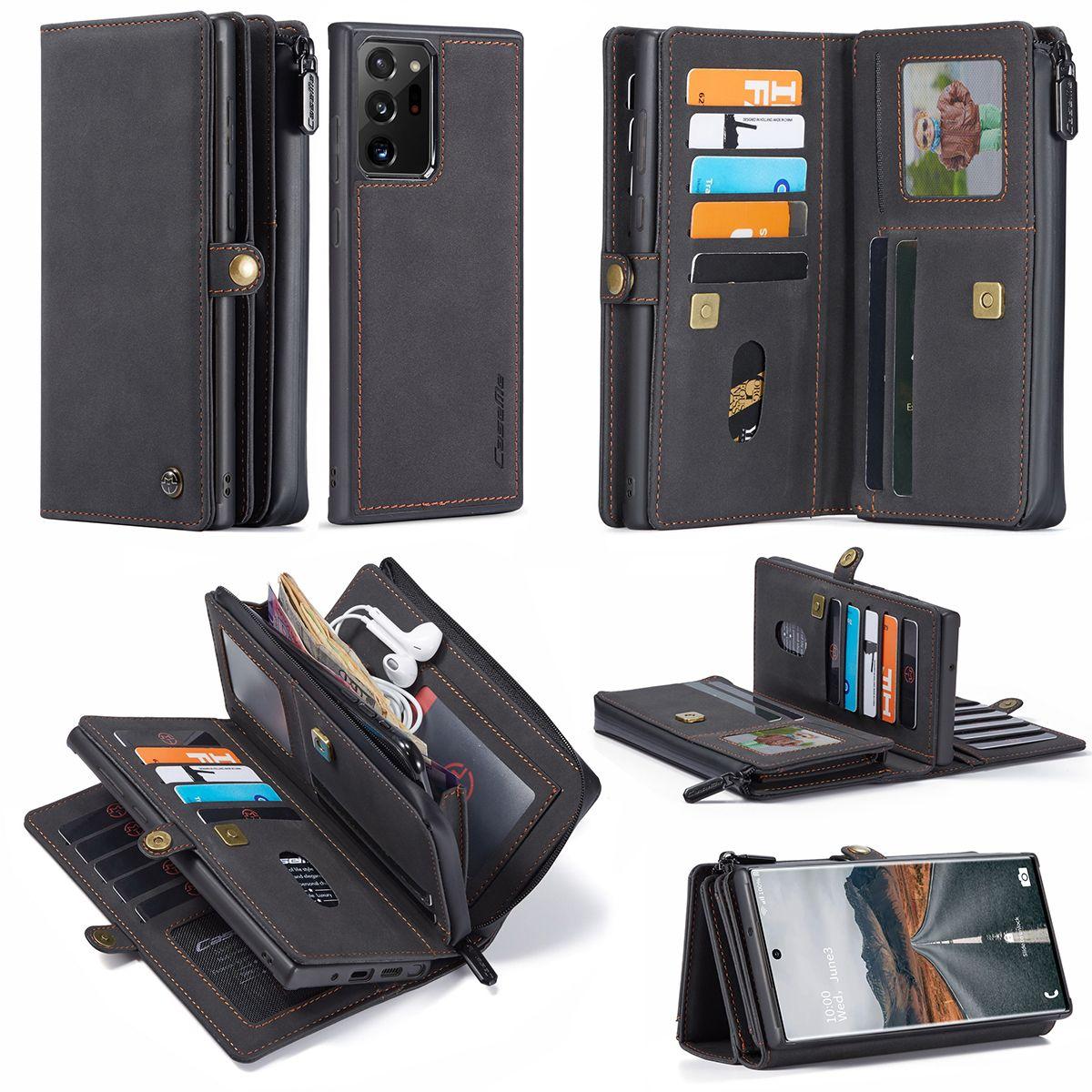 Caseme cuir 17 cartes Machines à sous Wallet Case pour Samsung flip Galaxy Note 20 Ultra S20 Remarque 10 Plus A71 A51 iPhone Pro 11