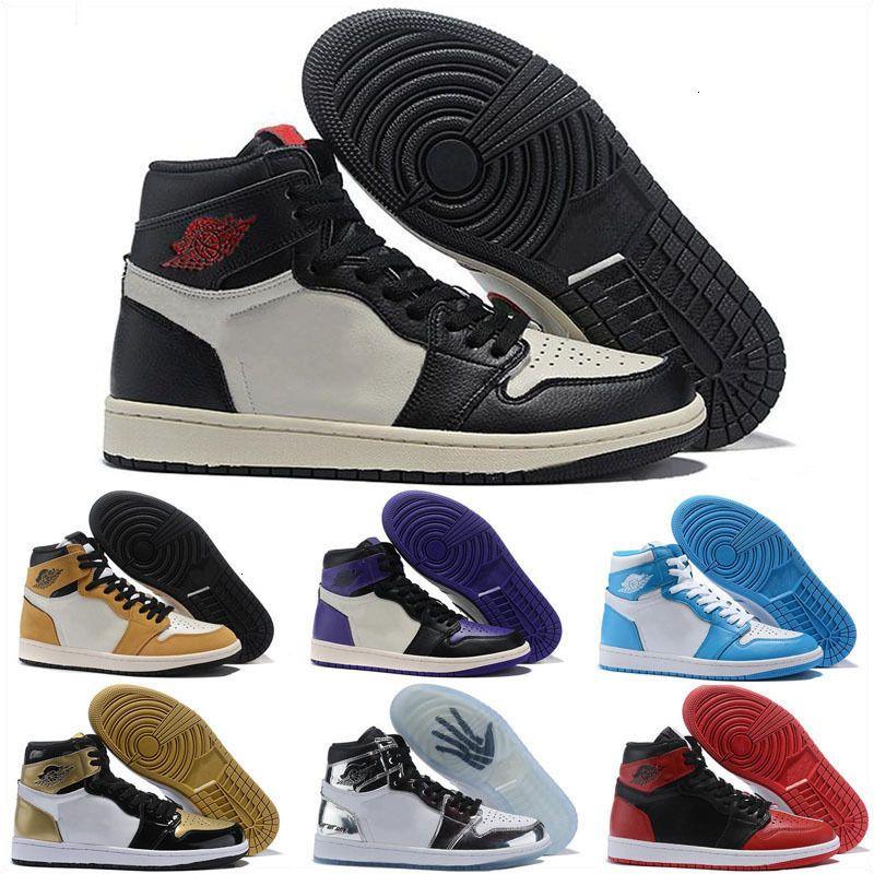 Нью-Jumpman 1S 1 Дети Баскетбол обувь мужчин кроссовки высокого OG 10X UNC Патентный Hyper Mid Белый Черный Синий Toe Мужчины Спортивная обувь
