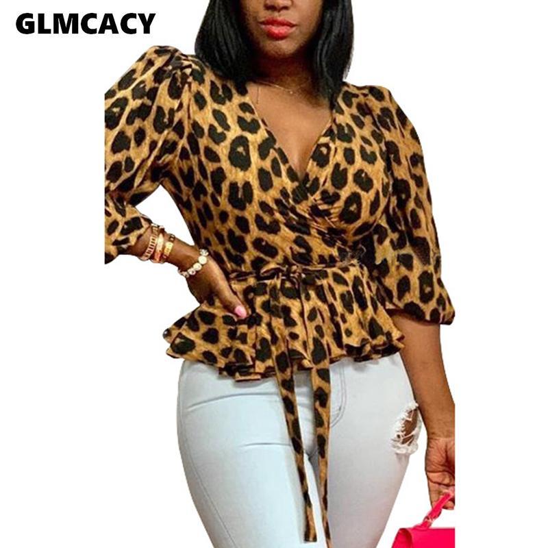 Kadınlar Yarım Kol V Yaka Peplum Leopar Şık Sonbahar Bluzlar Gömlek Klas Chic OL Kıyafetleri Streetwear Y200828 Tops